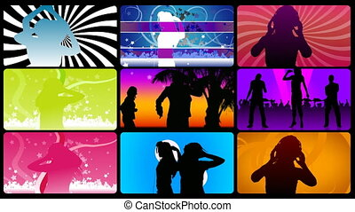 Montage footage presenting silhouettes dancing in HD