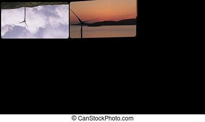 Montage footage presenting wind tur