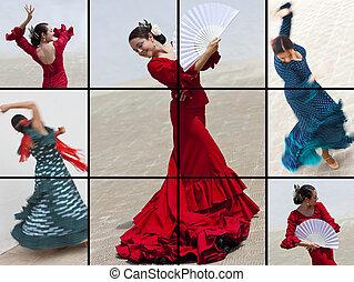montage, frau, flamenco tänzer, spanischer