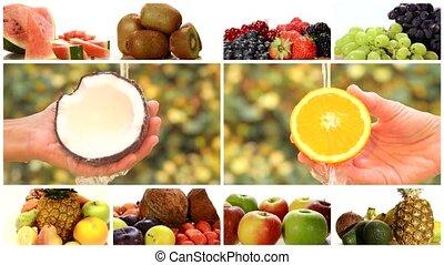 montage, fruits, divers, haut fin