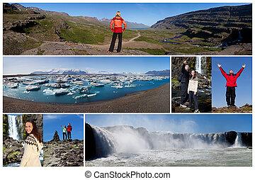 montage, gens, style de vie, extérieur, paysage, islande