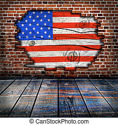 montage, gereed, lege, interieur, amerikaan, product, vlag, ...