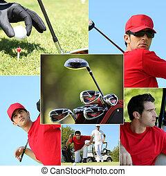 montage, golfen, themed