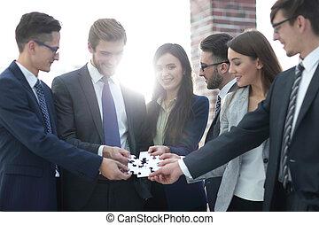 montage, groupe, professionnels, soutien, puzzle, équipe