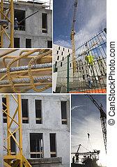 montage, grue, site construction