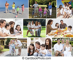 Montage happy families parents and children boys & girls enjoying an active lifestyle on holiday vacation, cycling, at beach, playing in swimming pool, eating healthy food, playing video games & using laptop computer at home.