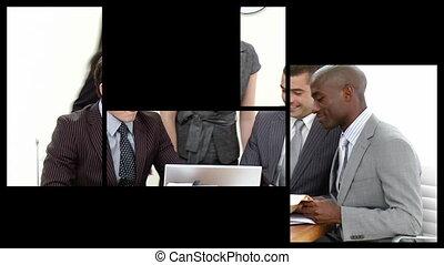 montage, het voorstellen, handel team, in