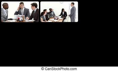 montage, het voorstellen, zakenlui