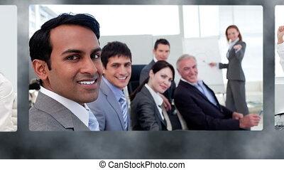 montage, heureux, equipe affaires