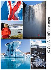 montage, ijsland, landscape, mensen, buiten, levensstijl