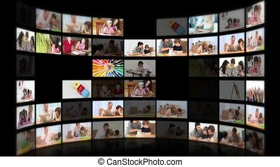 Montage illustrating the educational system with various...