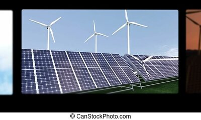 Montage illustrating the solar and wind energies