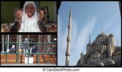 montage islam - montage muslim woman pray god, blue mosque...