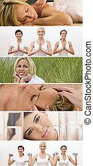 montage, kvinna, hälsosam, kurort, kvinnlig, livsstil