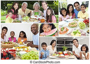 montage, lebensmittel, familien, essende, gesunde