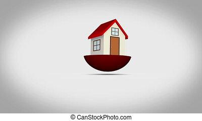 montage, maison, famille