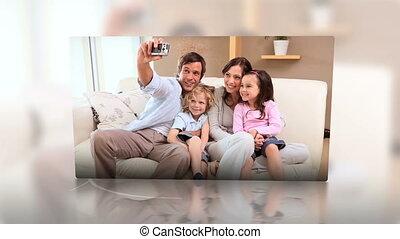 montage, maison, familles