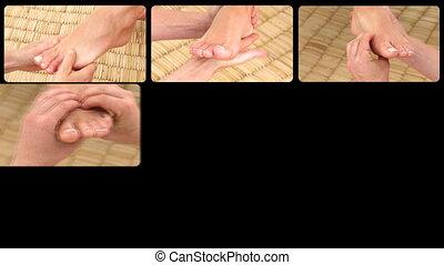 montage, massages, pied, présentation
