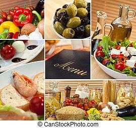 montage, mat, medelhavet, italiensk, meny, hälsosam