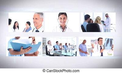 montage, medizinische mannschaft