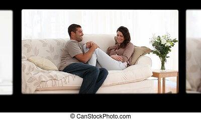 montage, mignon, couples, amusement, avoir