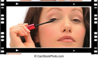 montage, mignon, making-up, femmes