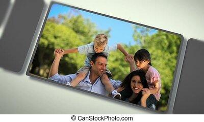 montage, moments, partage, familles