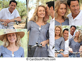 Montage of a couple with bikes in the countryside