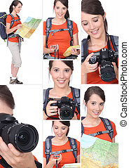 Montage of a hiker with a DSLR camera