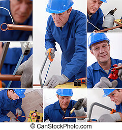 Montage of a plumber at work