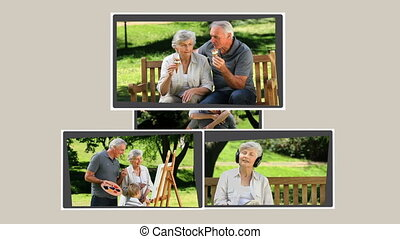 Montage of a retired couple relaxin