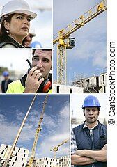 Montage of a team of building workers