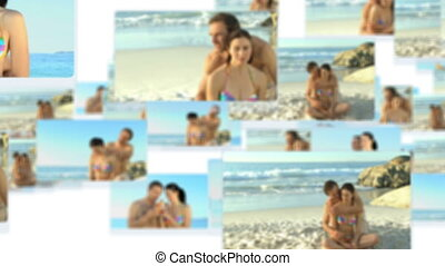 Montage of a young couple having fu