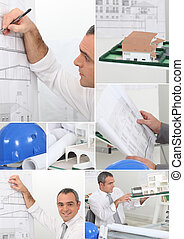 Montage of architect drawing plans to new project