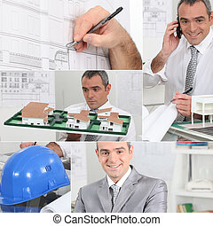 Montage of architect on his office