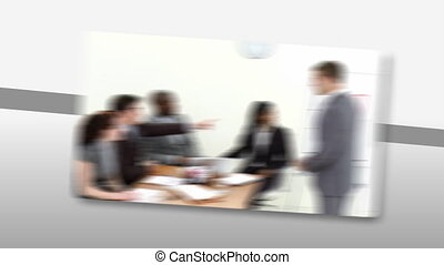 Montage of Assertive business peopl