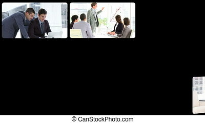Montage of assertive businessmen at