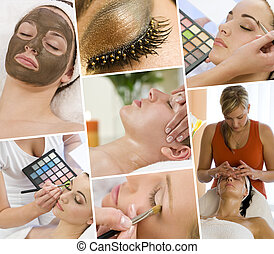 Montage of Beautiful Women at a Beauty Spa