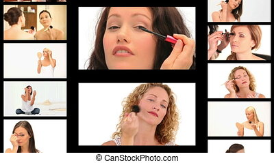 Montage of beautiful women making up