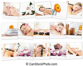 Montage of beautiful women relaxing