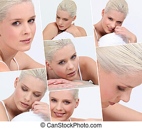 Montage of blond woman wearing underwear in bed