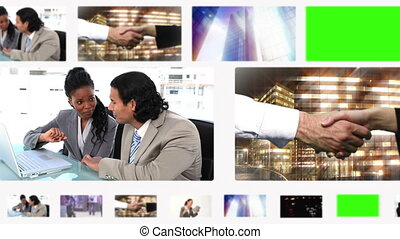 Montage of business people and situ