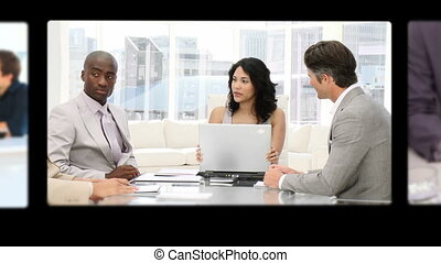 Montage of business people discussi