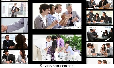 Montage of business people in diffe