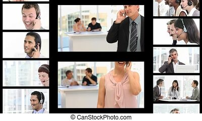 Montage of business people on the phone at work