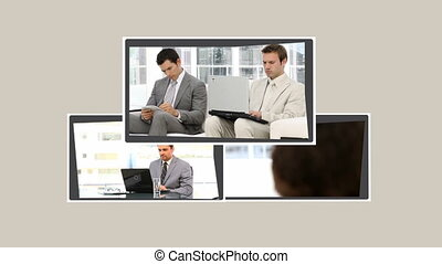 Montage of business people working