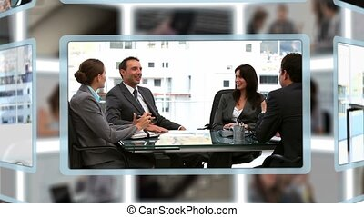 Montage of business people working at the office