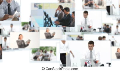 Montage of business people working inside and outside