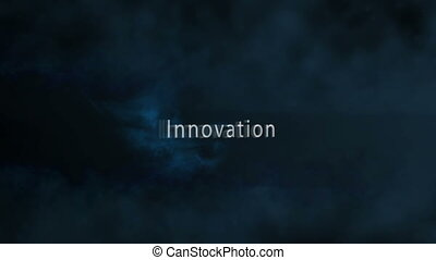 Montage of business plan terms appearing with blue sparks on...