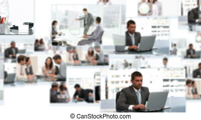 Montage of business teams collaborating during meetings